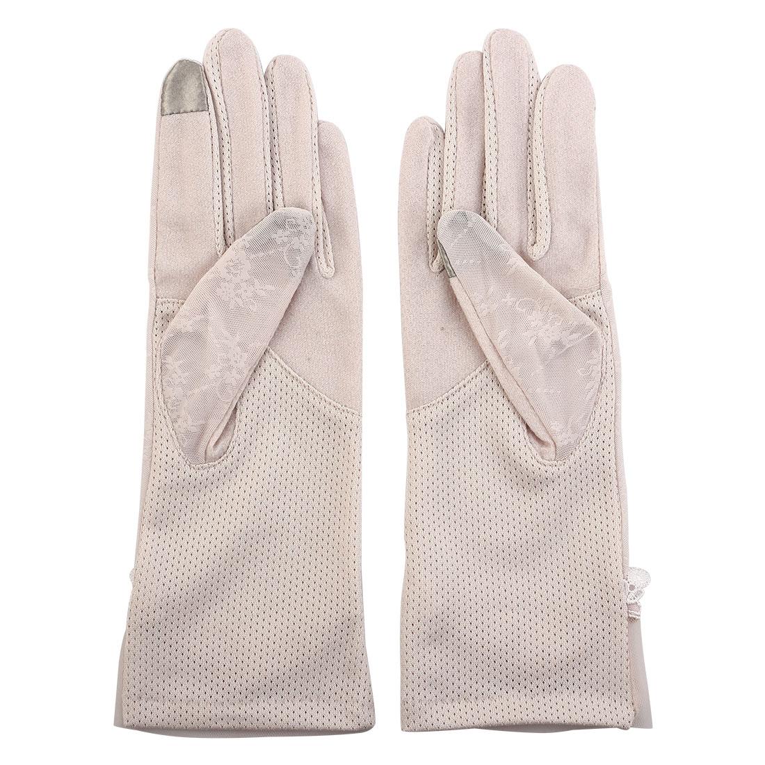 Outdoor Travel Driving Flower Bowknot Decor Full Finger Non-slip Sun Resistant Gloves Light Pink Pair for Women