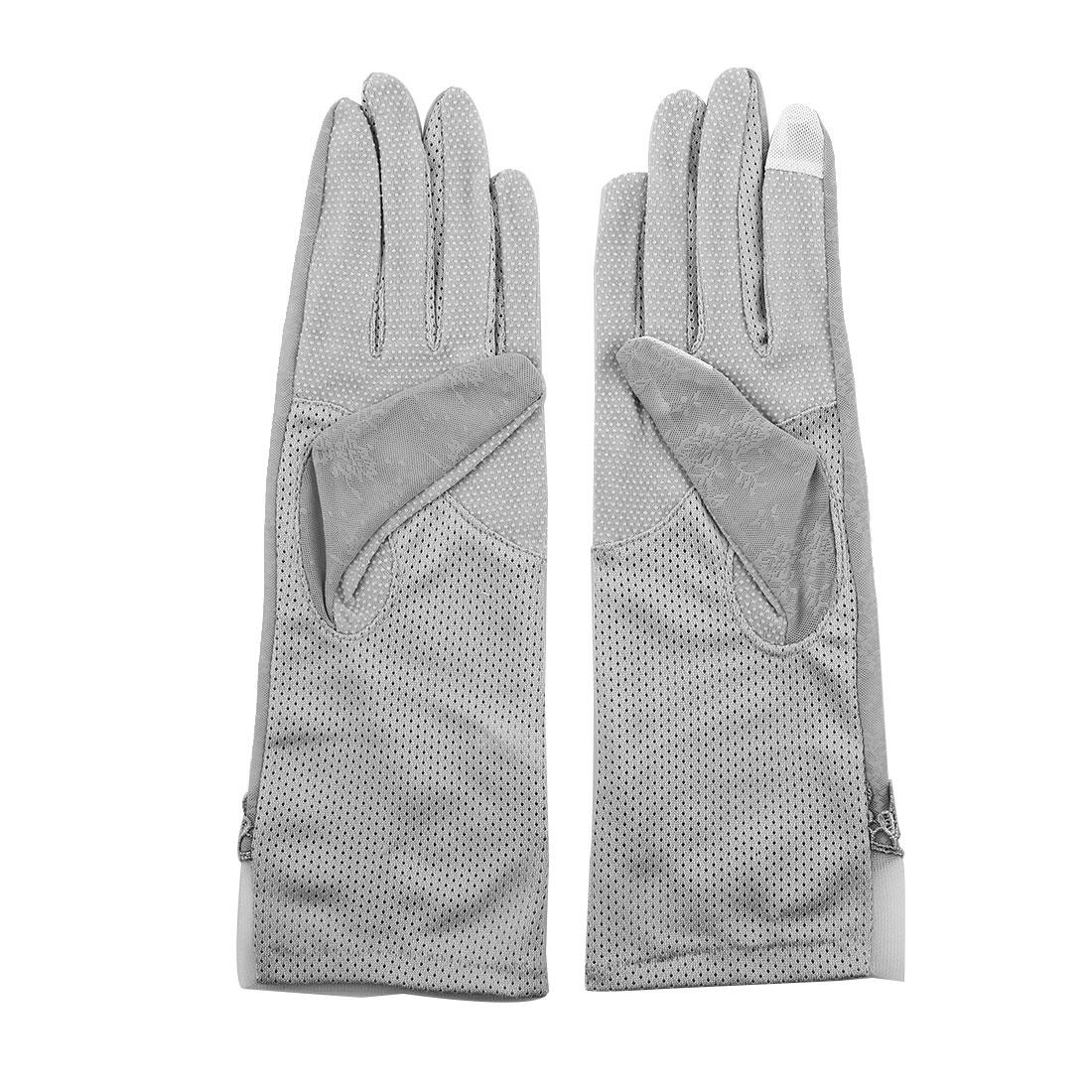 Outdoor Travel Driving Flower Bowknot Decor Full Finger Non-slip Sun Resistant Gloves Gray Pair for Women