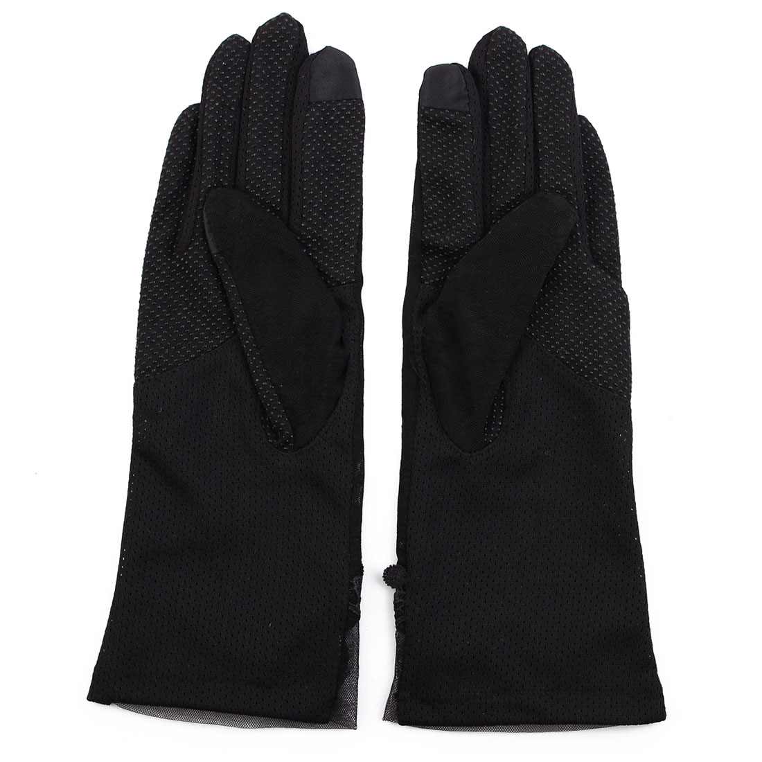 Outdoor Travel Driving Flower Bowknot Decor Full Finger Non-slip Sun Resistant Gloves Black Pair for Women