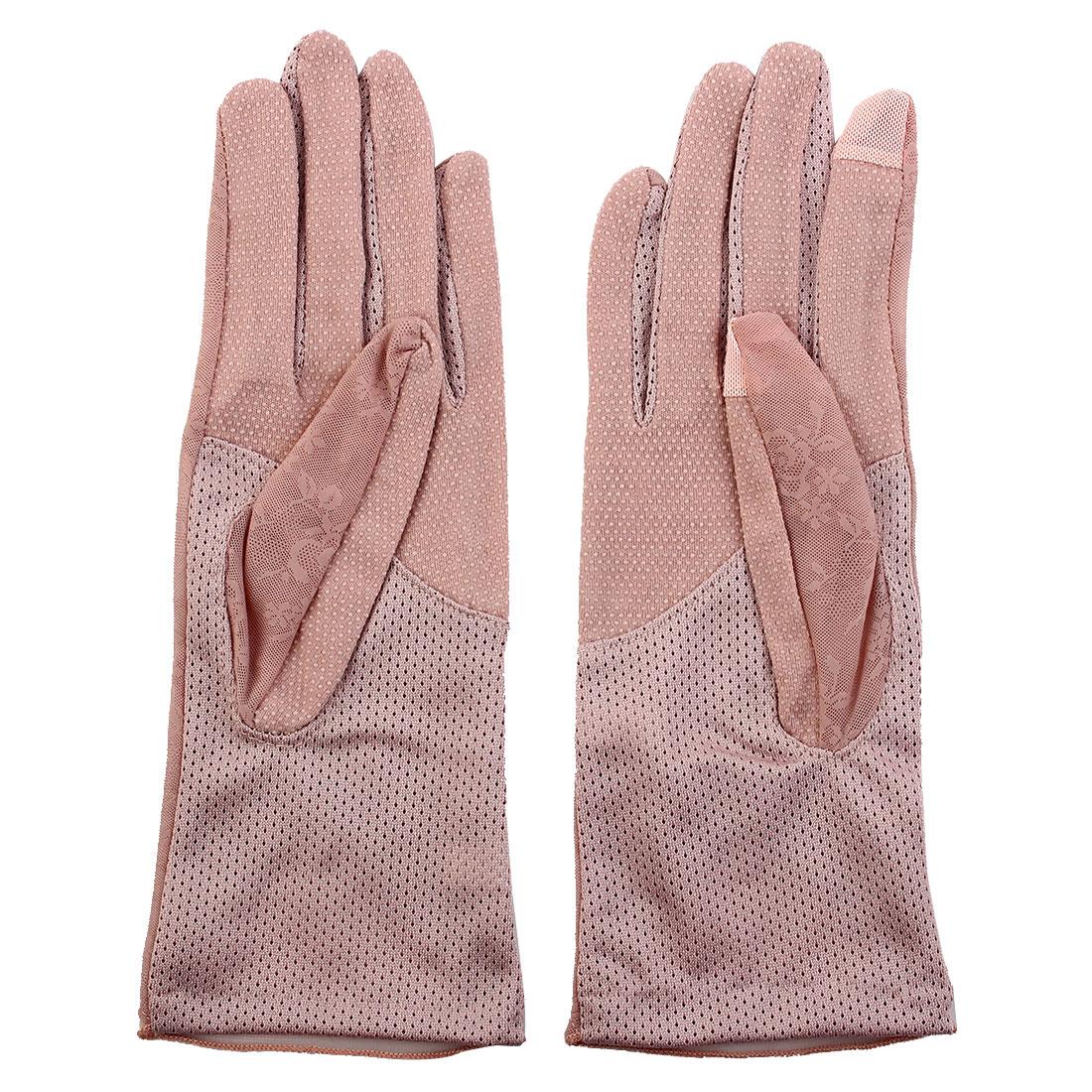 Outdoor Travel Driving Flower Decor Full Finger Non-slip Sun Resistant Gloves Pink Pair for Women Ladies