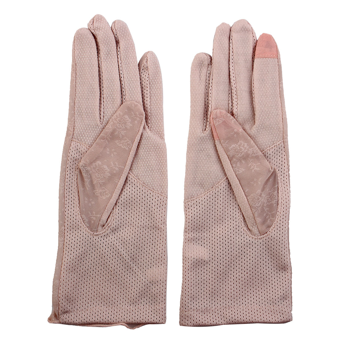 Outdoor Travel Driving Flower Decor Full Finger Non-slip Sun Resistant Gloves Light Pink Pair for Women Ladies