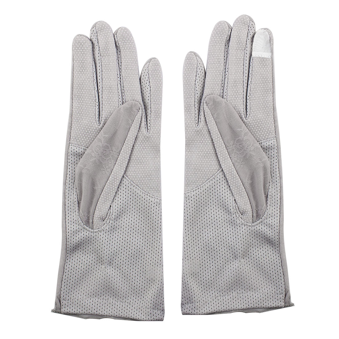 Outdoor Travel Driving Flower Decor Full Finger Non-slip Sun Resistant Gloves Gray Pair for Women Ladies