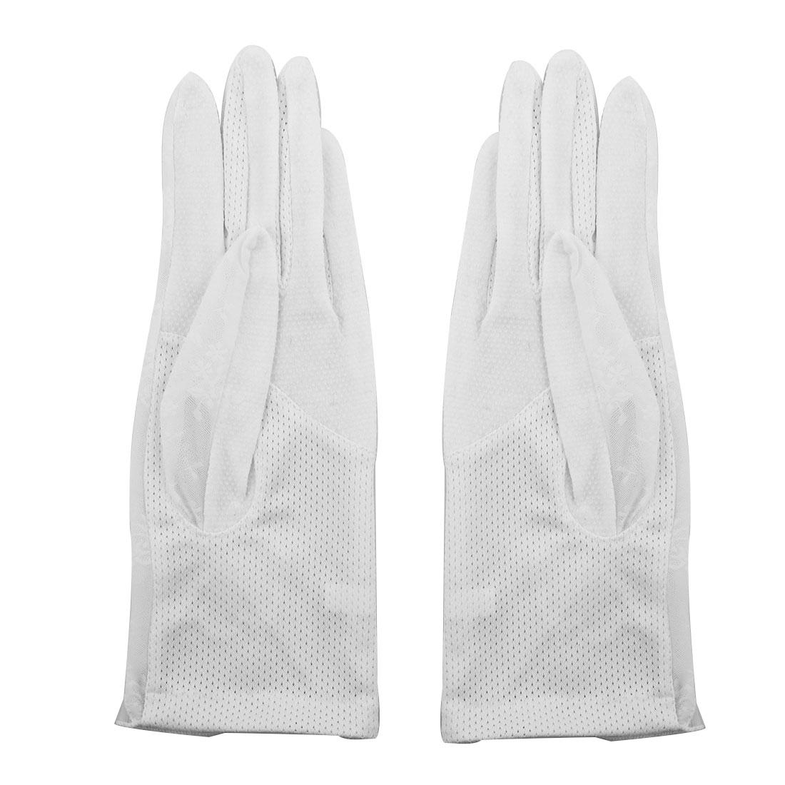Outdoor Travel Driving Flower Decor Full Finger Non-slip Sun Resistant Gloves White Pair for Women Ladies