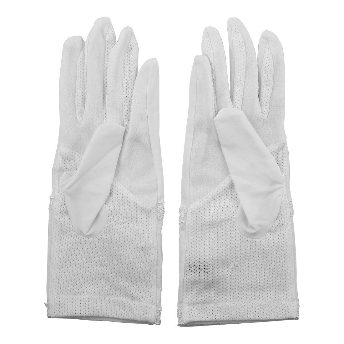 Outdoor Travel Driving Flower Imitation Pearl Decor Full Finger Non-slip Sun Resistant Gloves White Pair for Ladies