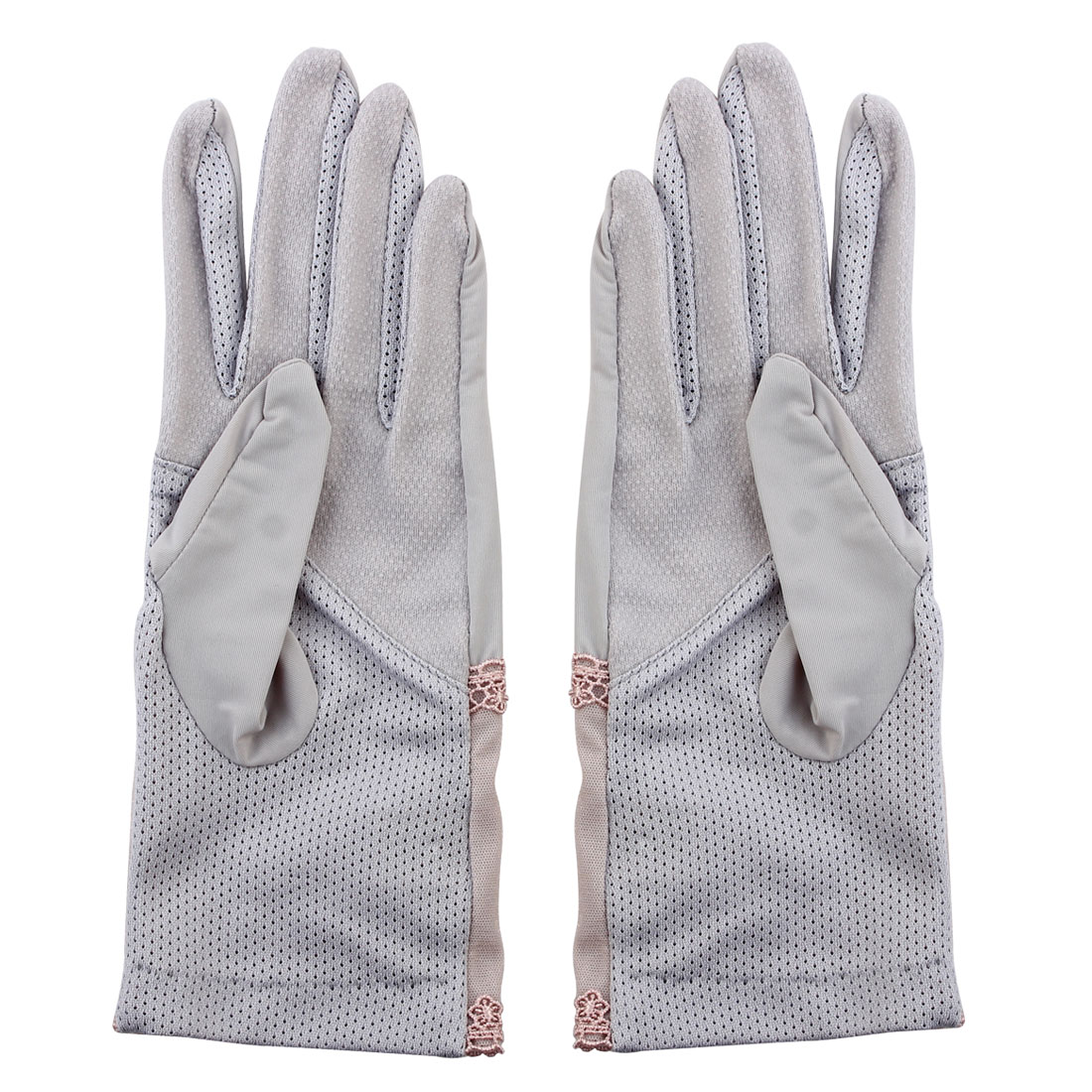 Outdoor Travel Driving Flower Imitation Pearl Decor Full Finger Non-slip Sun Resistant Gloves Gray Pair for Ladies