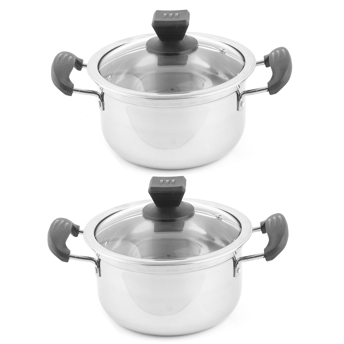 Home Kitchen Stainless Steel Soup Container Stockpot Pot Cooking Tool 20cm Dia 2pcs