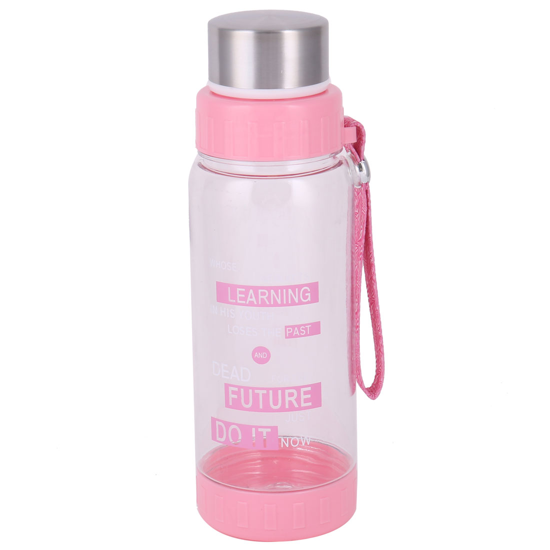 Household Plastic Detachable Drinking Tea Strainer Water Cup Bottle Pink 600ml