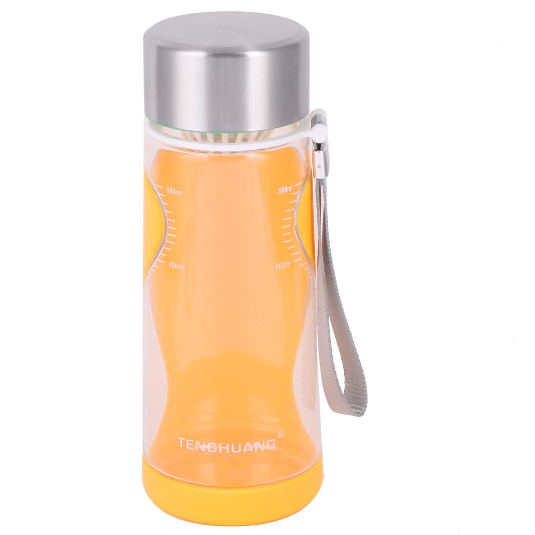 Household Outside Plastic Handhold Drinking Tea Water Cup Bottle Orange 650ml