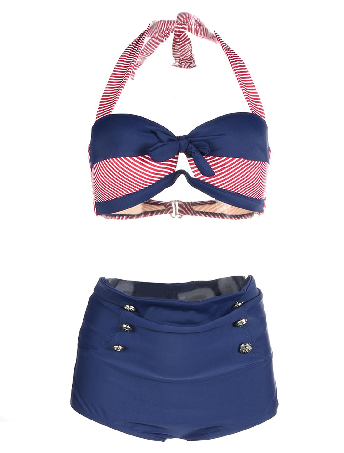 Women High Waist Bikini Navy Stripes Swimsuit Halter Retro Bathing Suit Buttons Swimwear US12