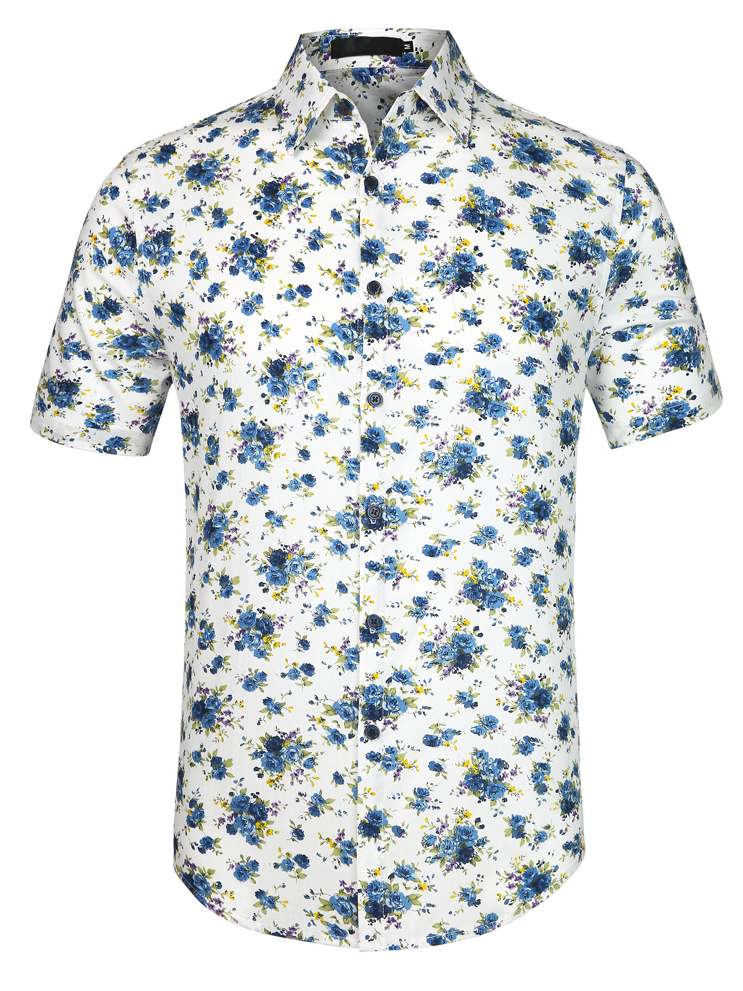 Men Point Collar Short Sleeve Single Breasted Floral Prints Shirt Off White Medium