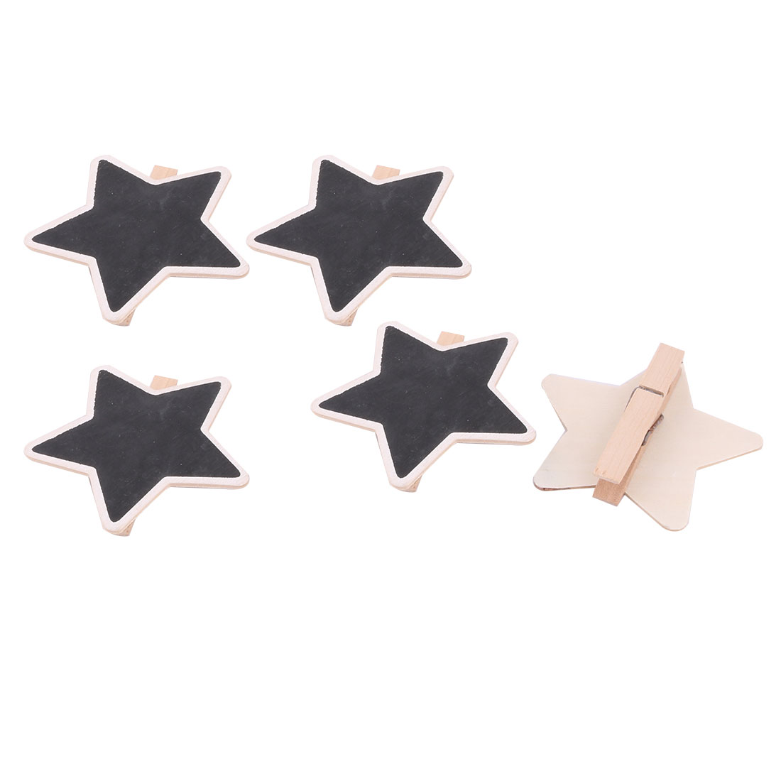 Home Office Wood Star Shaped Table Decor Drawing Message Memo Blackboard 5pcs