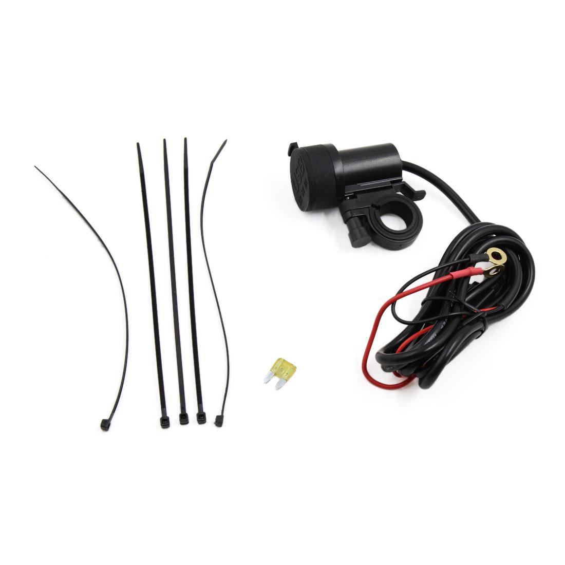 Black Plastic Cigarette Lighter Blue LED Dual USB Charger Power Adapter 2.1A 5V