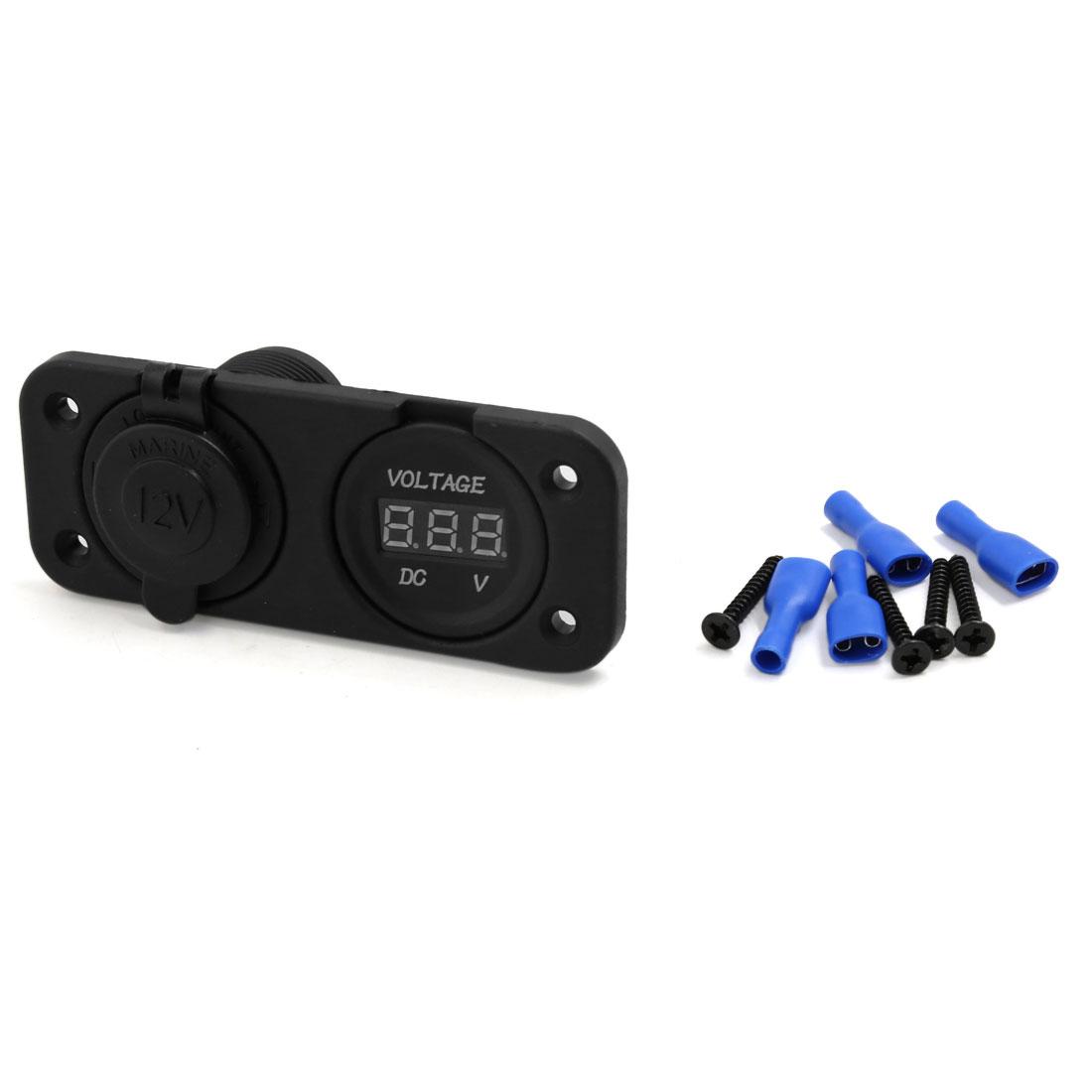 12V Cigarette Lighter Socket + Voltage Voltmeter Digital Black for Car Marine
