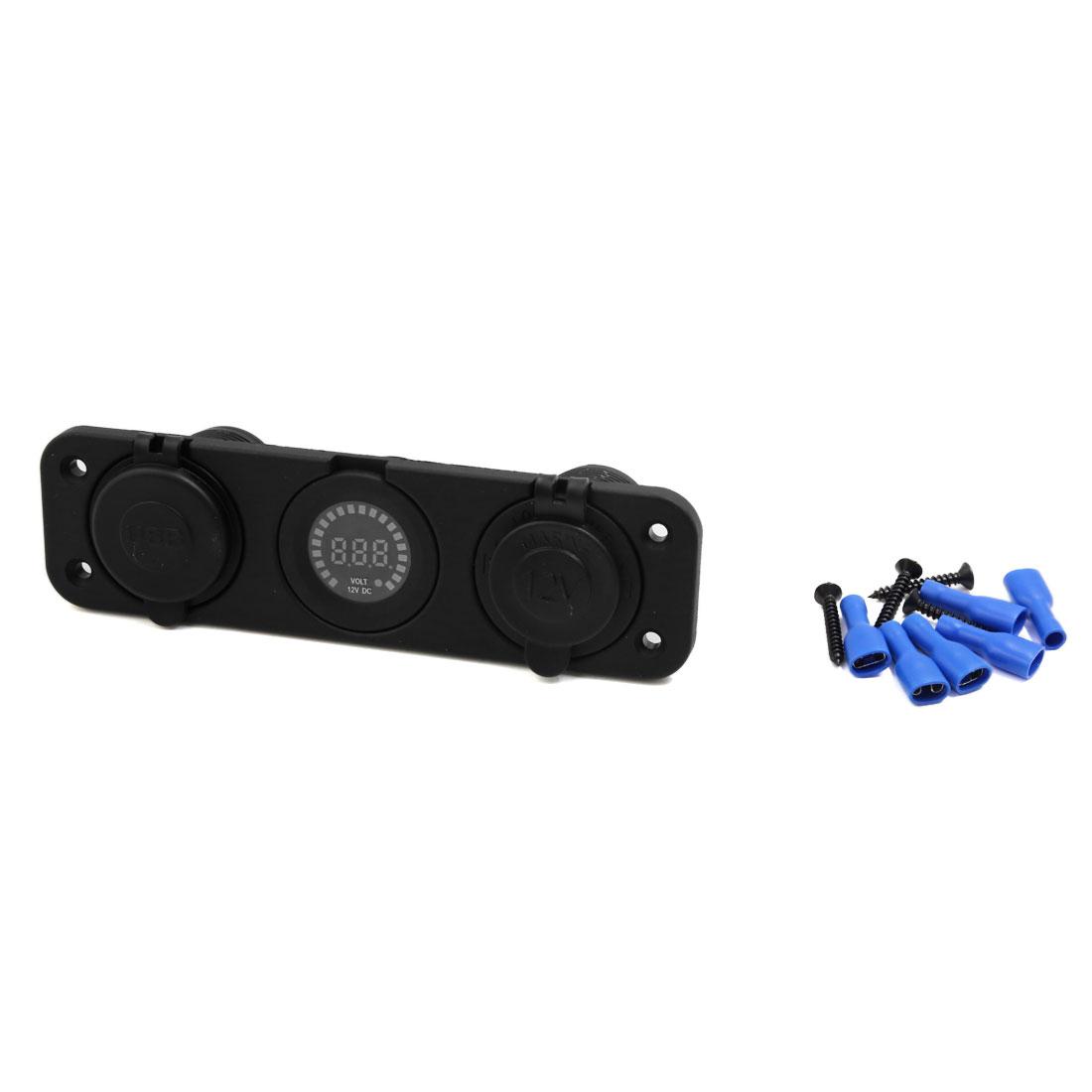 Green Indication USB Charger Voltmeter Digital Cigarette Lighter Socket for Car
