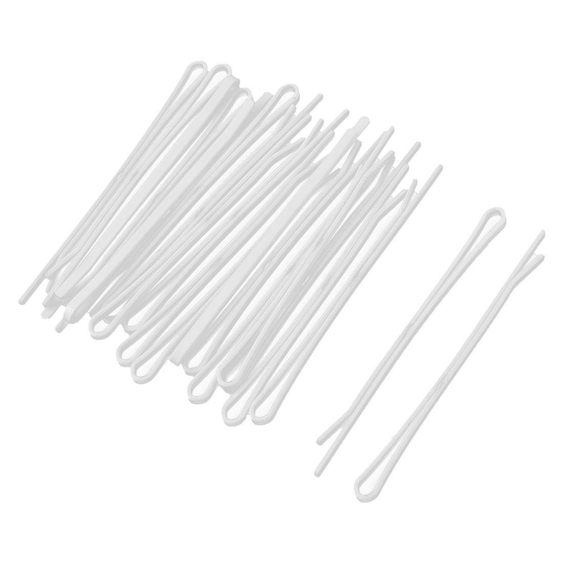Ladies Metal Single Prong Hairclip Barrettes Hair Bobby Pin White 20PCS