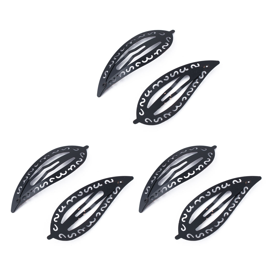 Ladies Metal Leaf Shaped Bobby Pin Snap Hair Styling Clip Hairpin Decor Black 6pcs