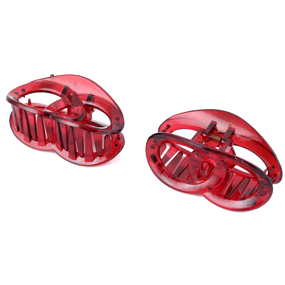 Ladies Plastic Hair Claw Clip Clamp Barrette Head Decoration Dark Red 2pcs
