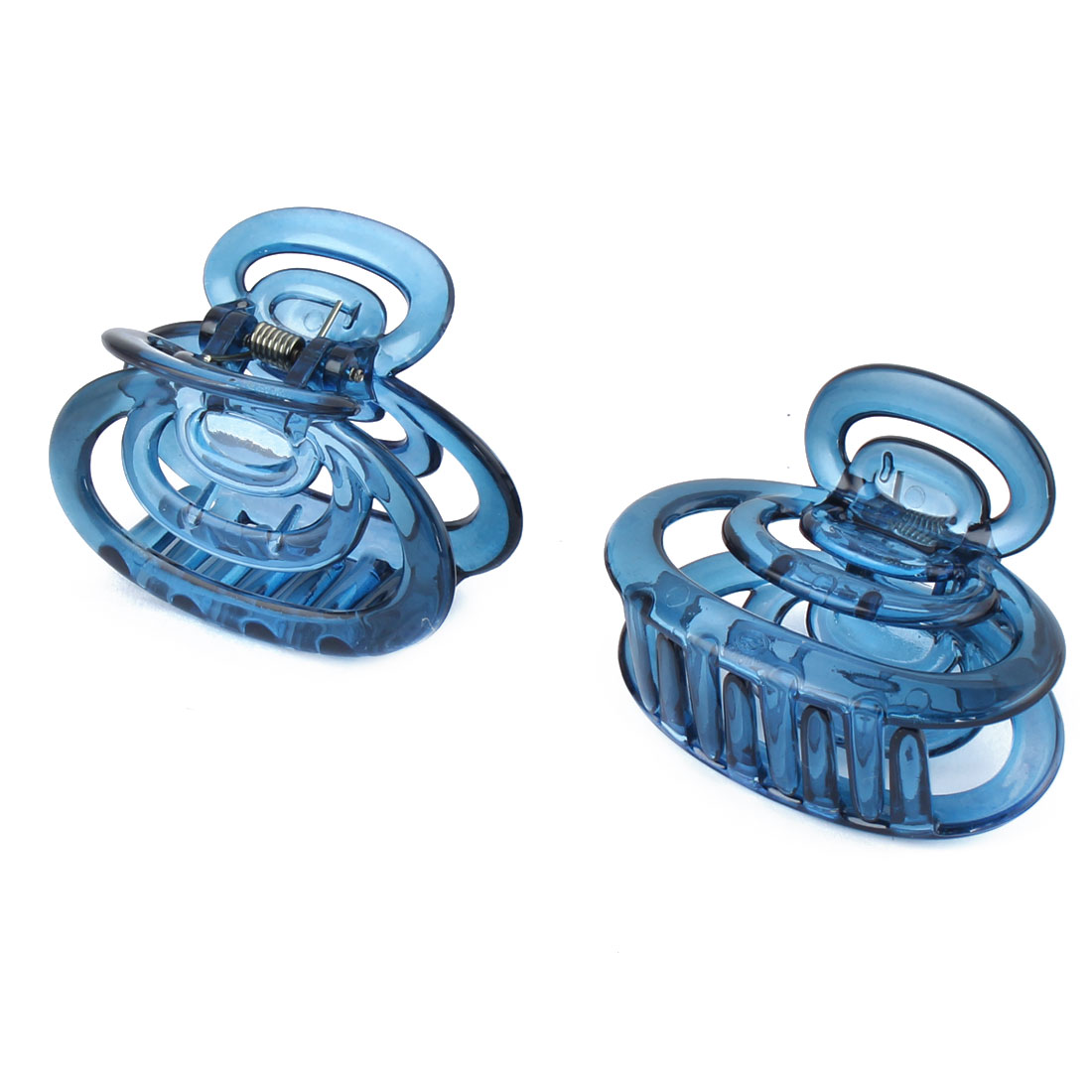 Women Plastic Hair Claw Clip Clamp Barrette Hairdressing Blue 2pcs