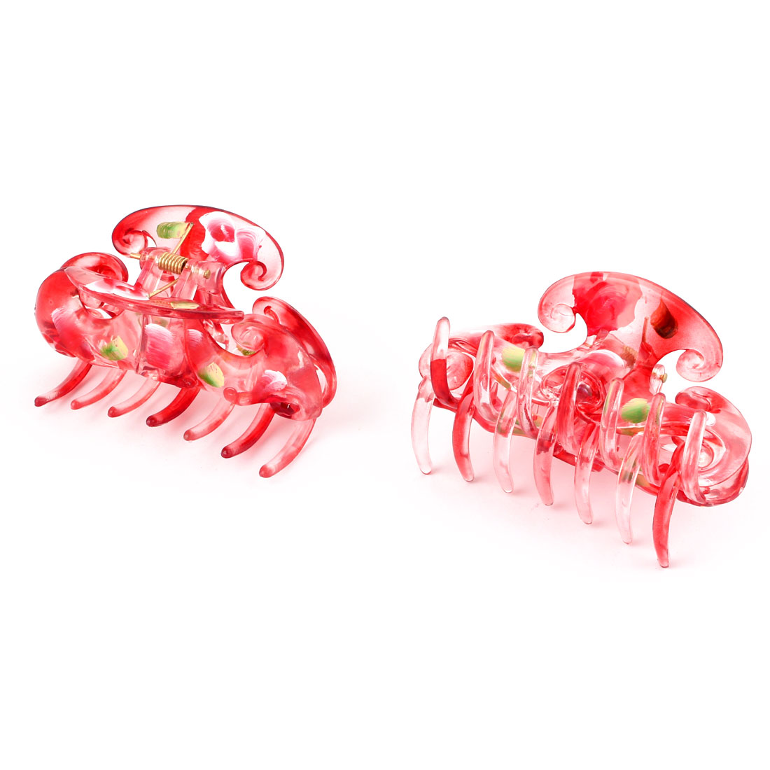Women Shower Plastic Hair Claw Clip Clamp Barrette Decoration Red 2pcs