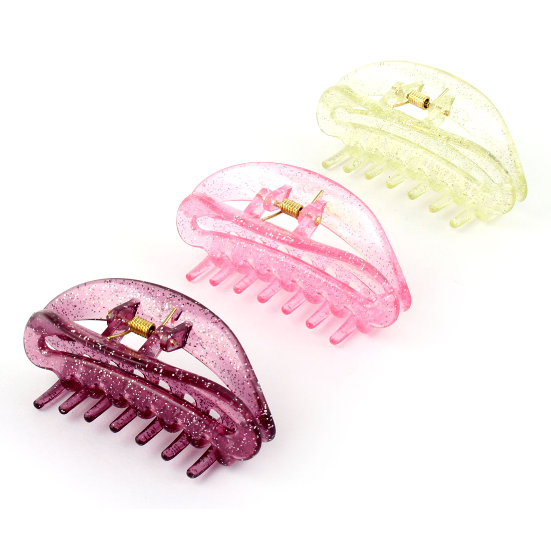 Women Shower Plastic Hair Claw Clip Clamp Barrette Assorted Color 3pcs