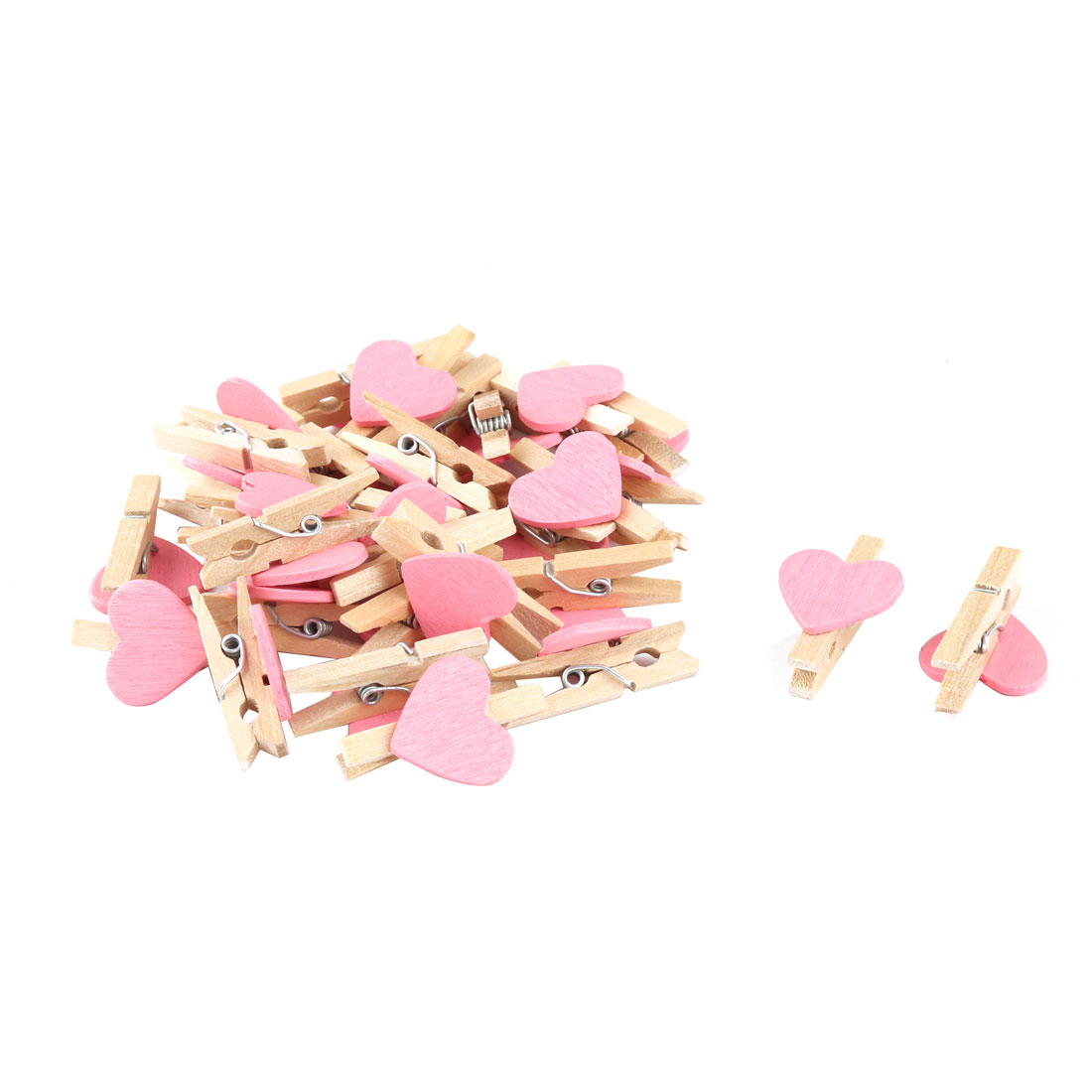 Home Party Wooden Heart Shaped DIY Craft Photo Post Card Pegs Clips Pink 30pcs