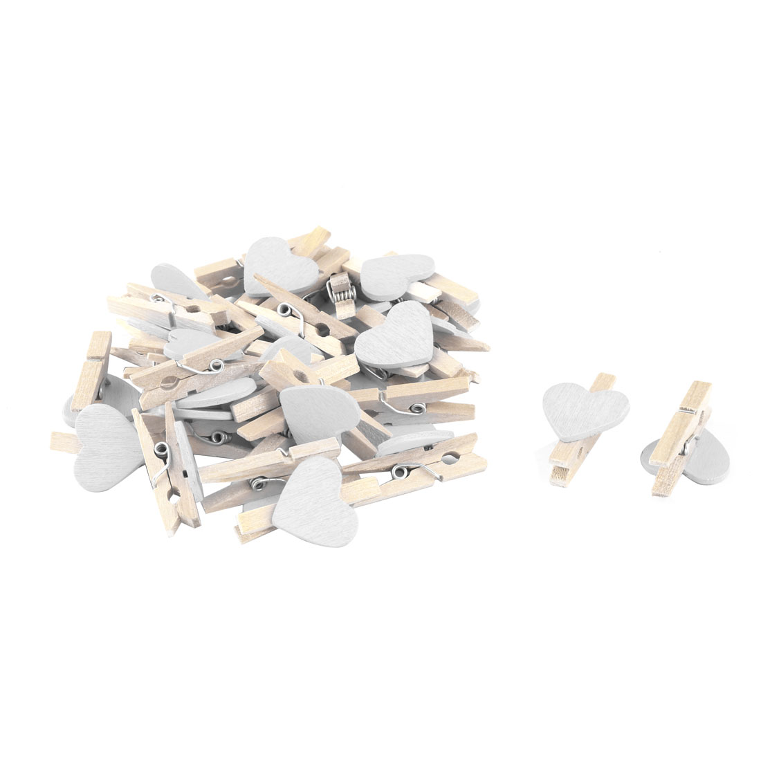 Home Party Wooden Heart Shaped DIY Craft Photo Post Card Pegs Clips White 30pcs