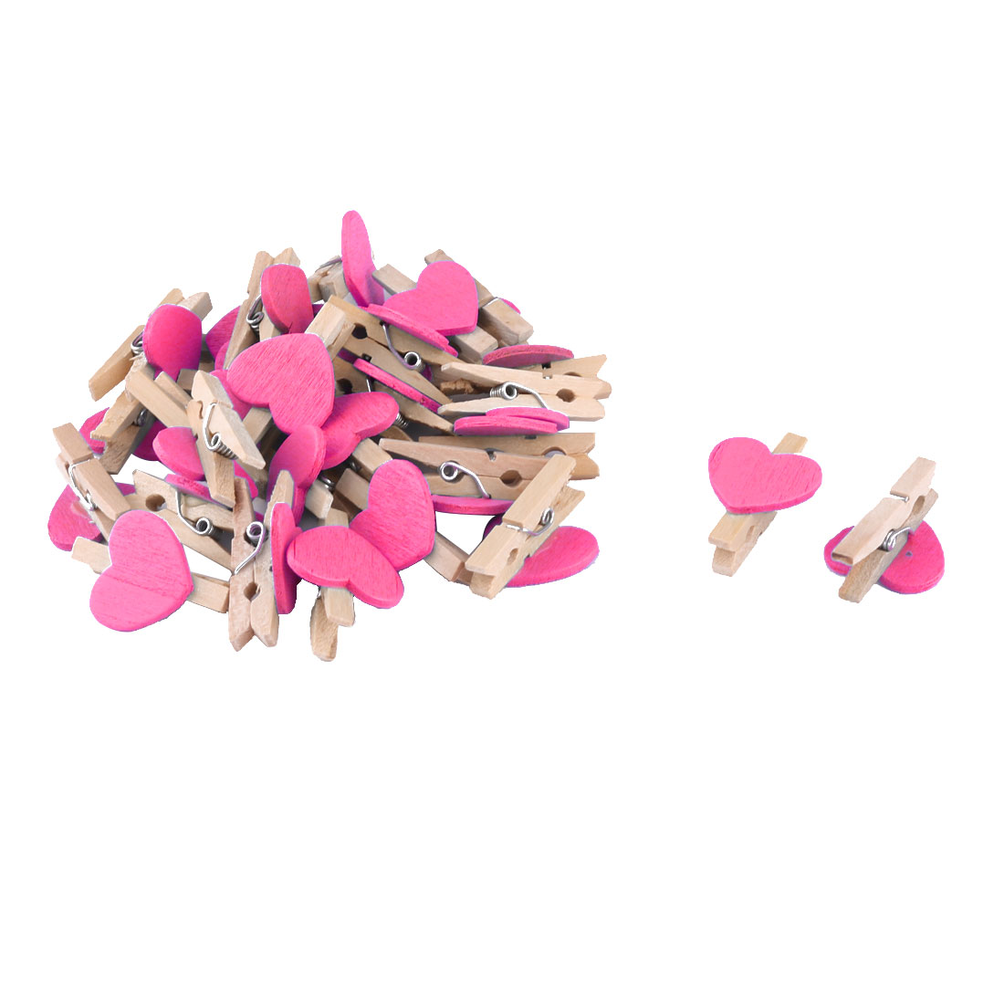 Home Party Wooden Heart Shaped DIY Craft Photo Post Card Pegs Clip Fuchsia 30pcs