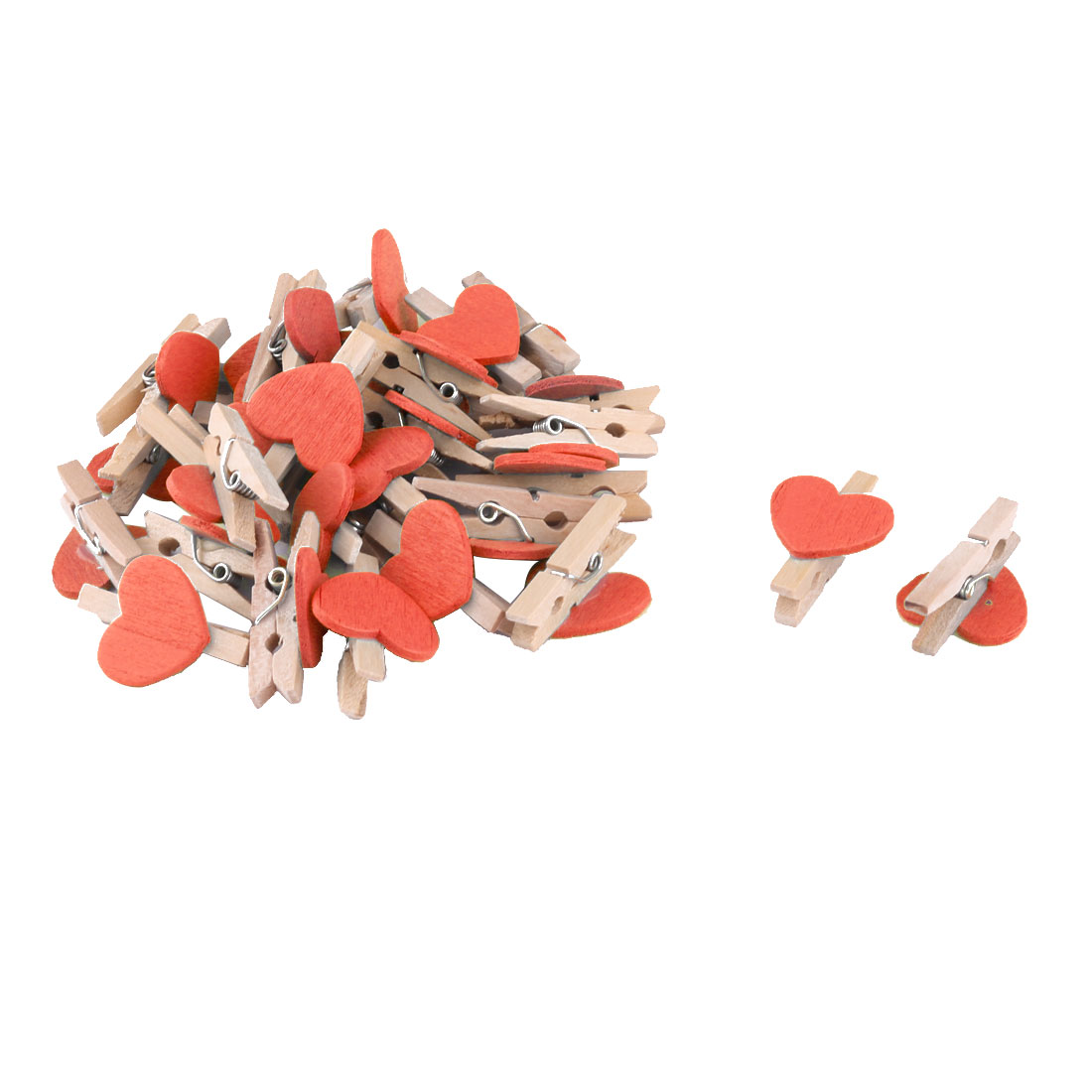 Home Party Wooden Heart Shaped DIY Craft Photo Post Card Pegs Clips Orange 30pcs