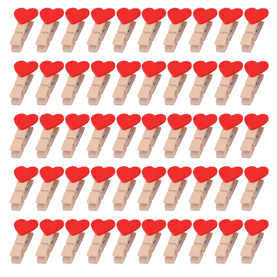 Wooden Heart Decor Craft Photo Paper Picture Hanging Clip Clamp Peg Red 50pcs