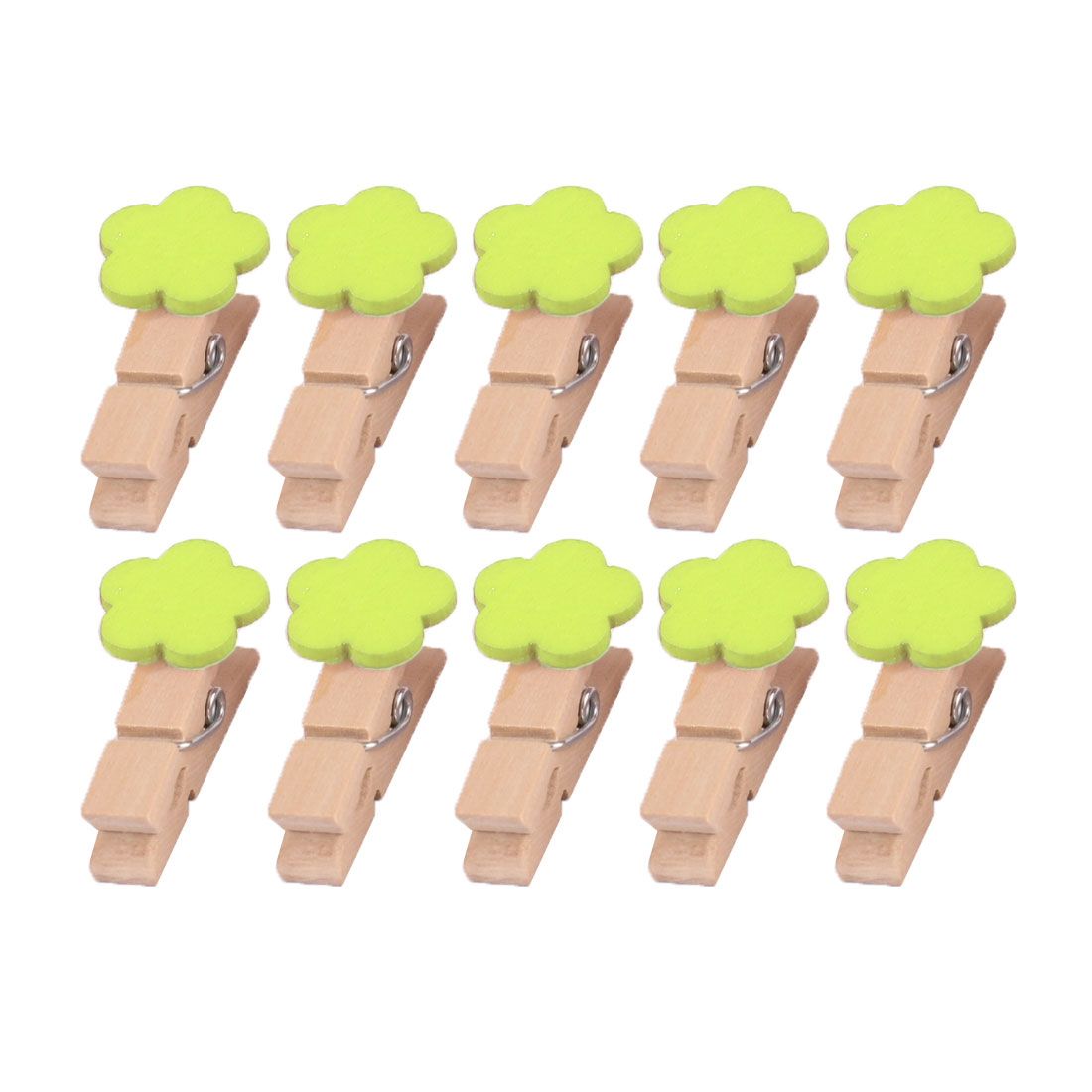 Home Wooden Flower Shaped DIY Craft Photo Picture Card Hanging Clip Green 10pcs