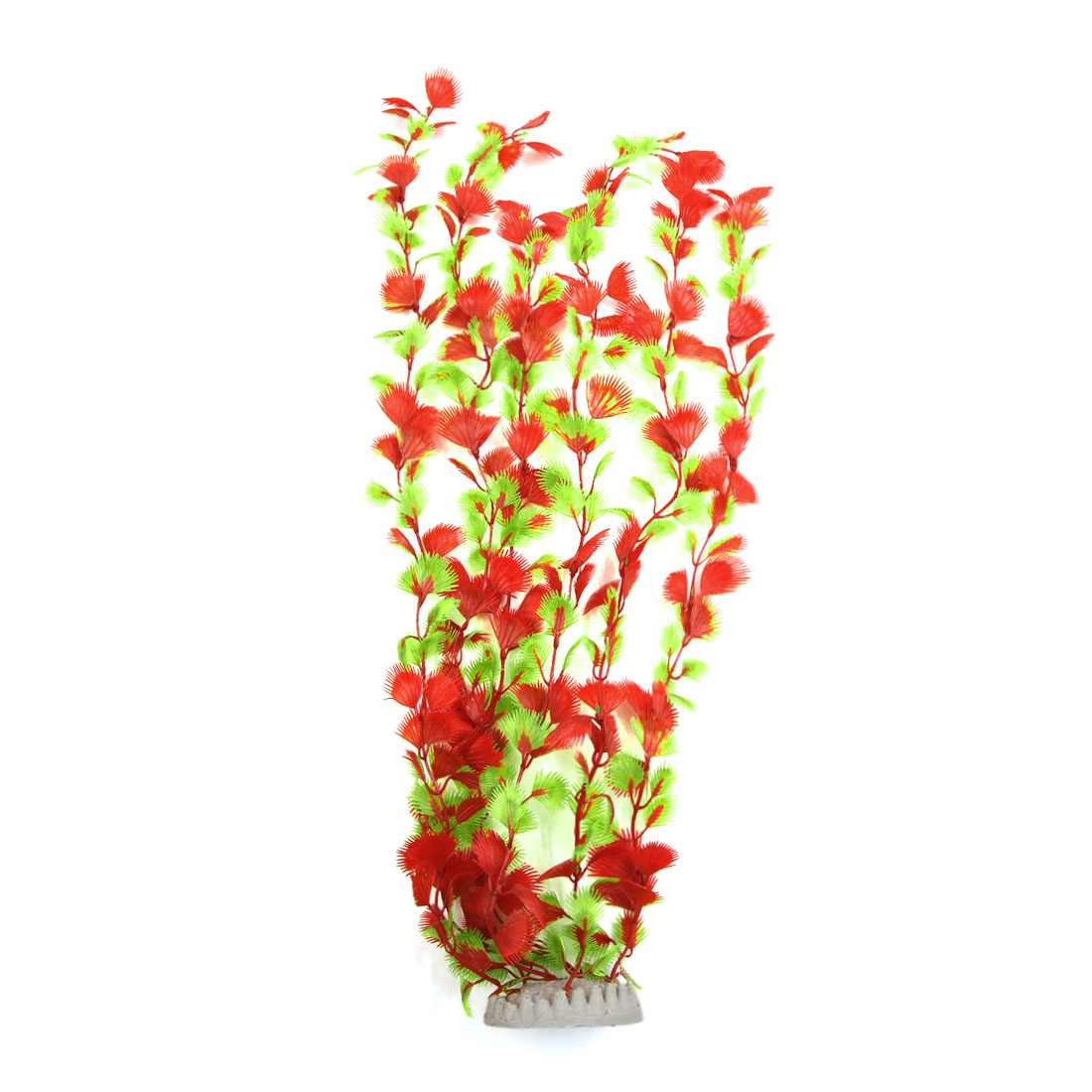Red Plastic Water Plant Grass Aquarium Fish Tank Decoration with Ceramic Base