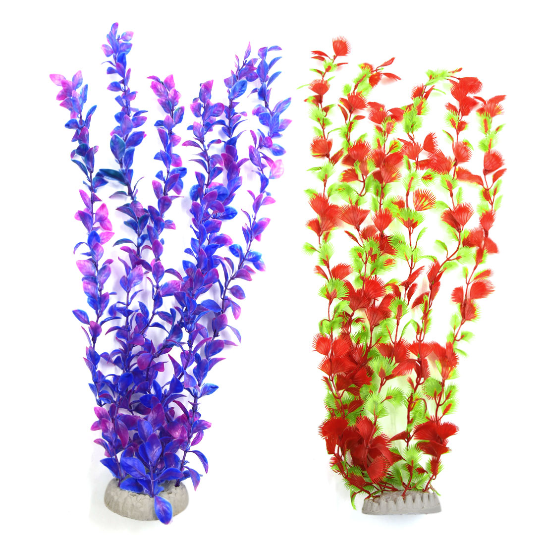 2Pcs Red Purple Plastic Plant Grass Aquarium Fish Tank Decoration w Ceramic Base
