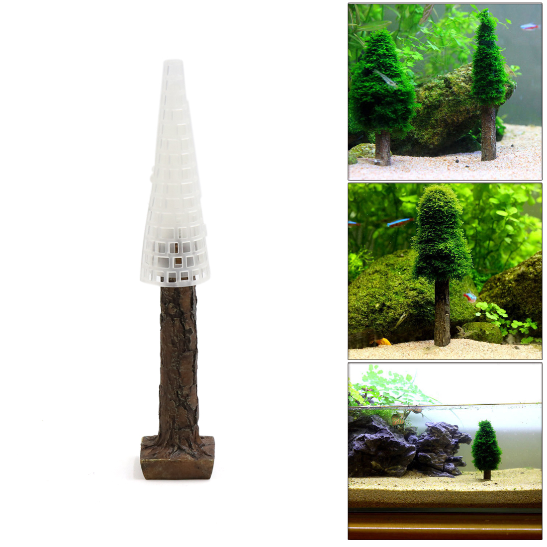 Plastic Moss Christmas Tree Plant Aquarium Fish Tank Aquascape Ornament