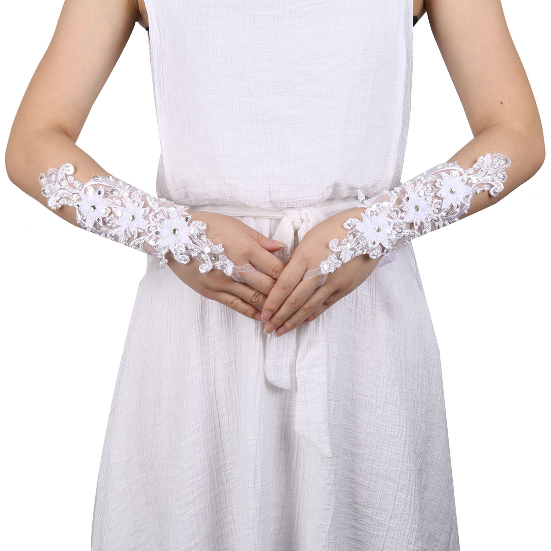 Wedding Polyester Flower Decor Bride Hand Decoration Lace Fingerless Glove Pair