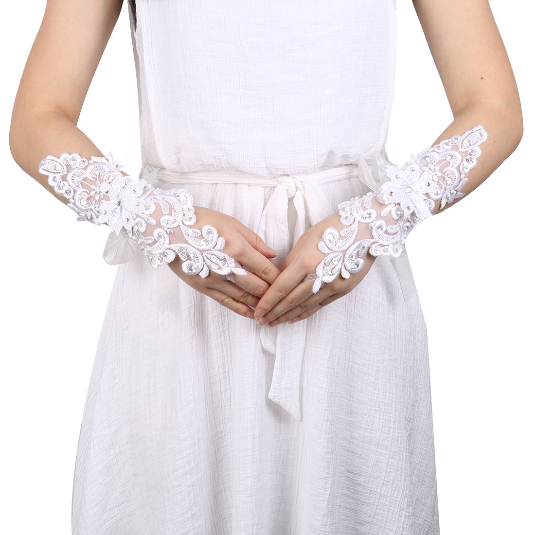 Show Polyester Flower Style Embroidery Bridesmaid Hand Decorative Lace Fingerless Glove Pair