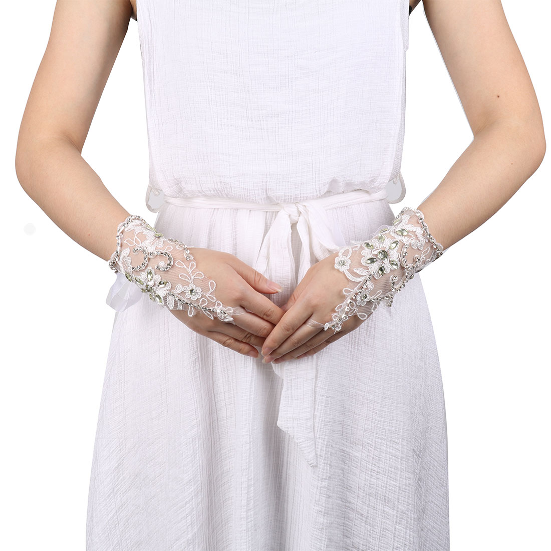 Wedding DIY Handcraft Ornament Bridesmaid Hand Lace Fingerless Glove White Pair