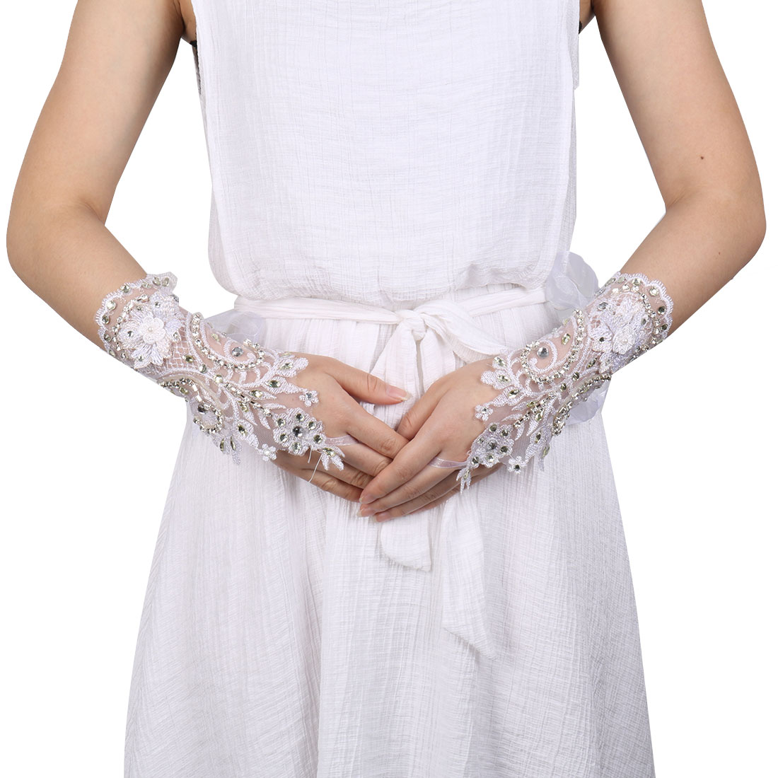 Lady DIY Handcraft Flower Decor Bridesmaid Hand Lace Fingerless Glove White Pair