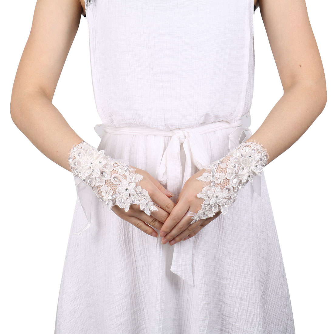 Lady Flower Style Bridesmaid Wrist Decor Lace Fingerless Glove 16.3 x 13cm Pair