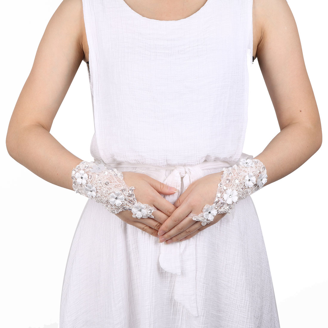 Party Polyester Floral Decor Bride Hand Embellishment Lace Fingerless Glove Pair