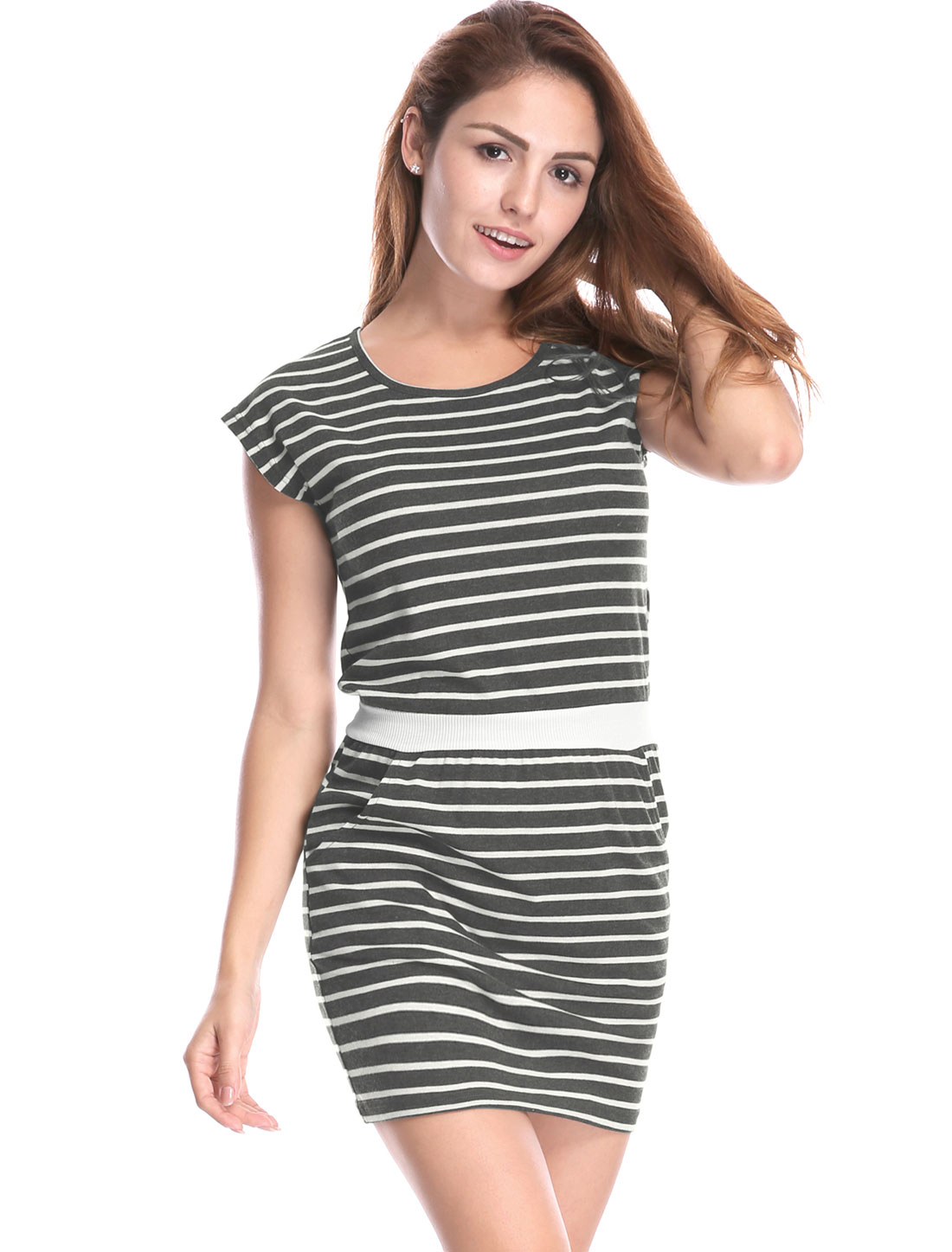 Women Stripes Paneled Round Neck Pockets Mini Dress Gray White XS