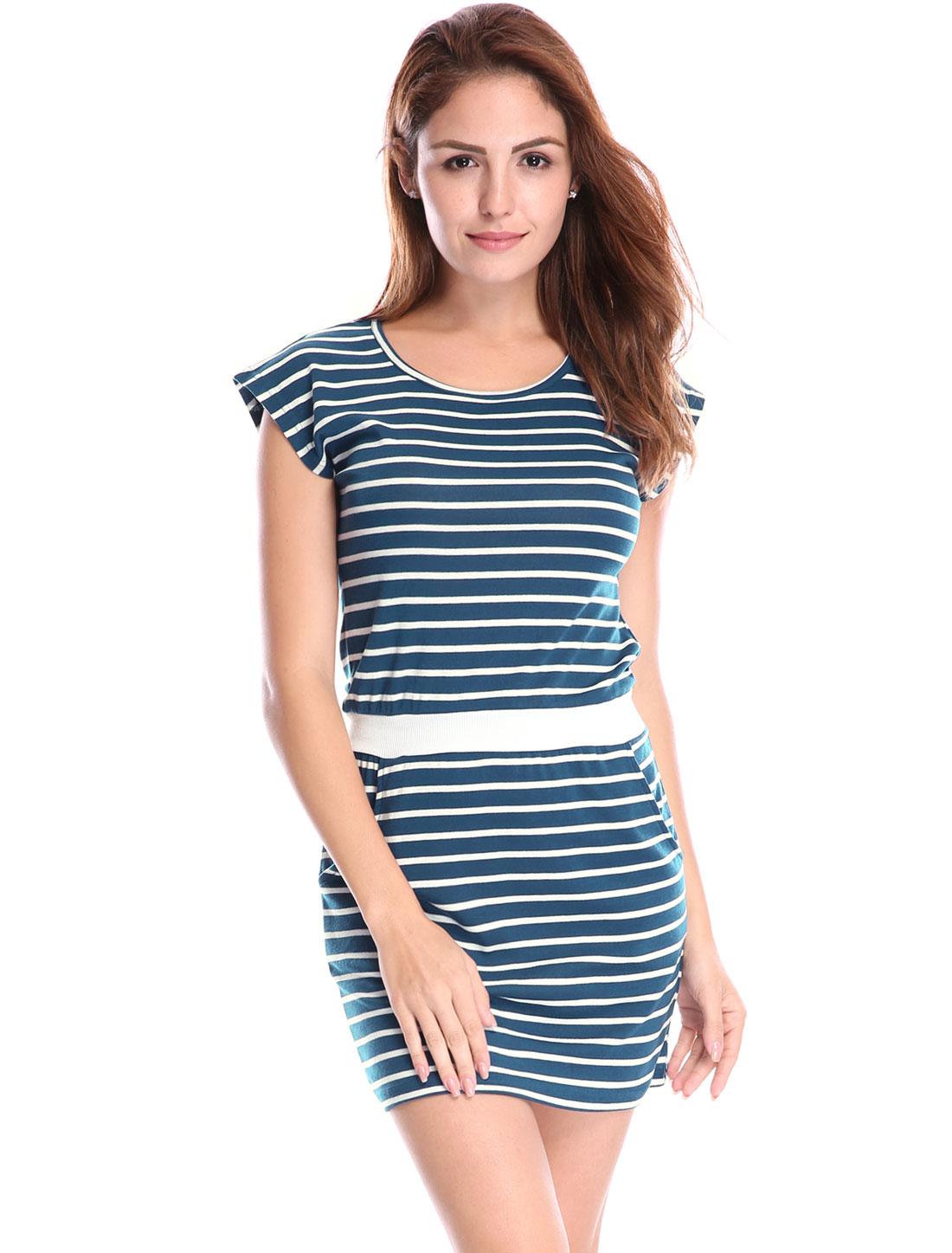 Women Stripes Paneled Round Neck Pockets Mini Dress Blue White XL