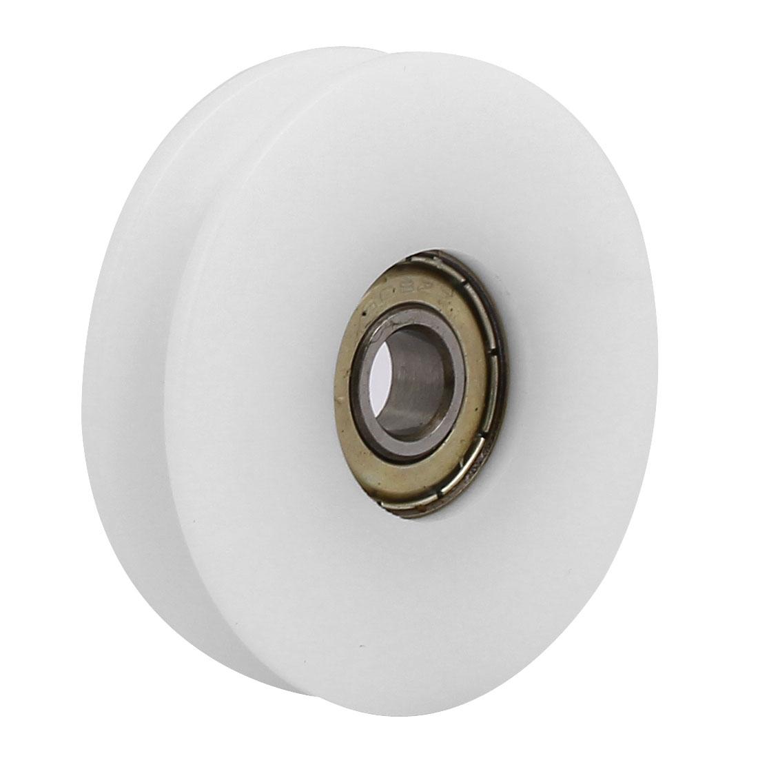 50mmx8mmx12mm Nylon U Groove Bearing Pulley Sliding Converyor Wheel White