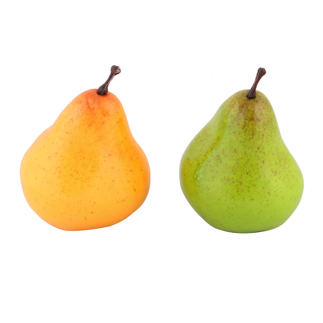 Household Table Ornament Foam Simulation Artificial Fruit Pear Yellow Green 2pcs