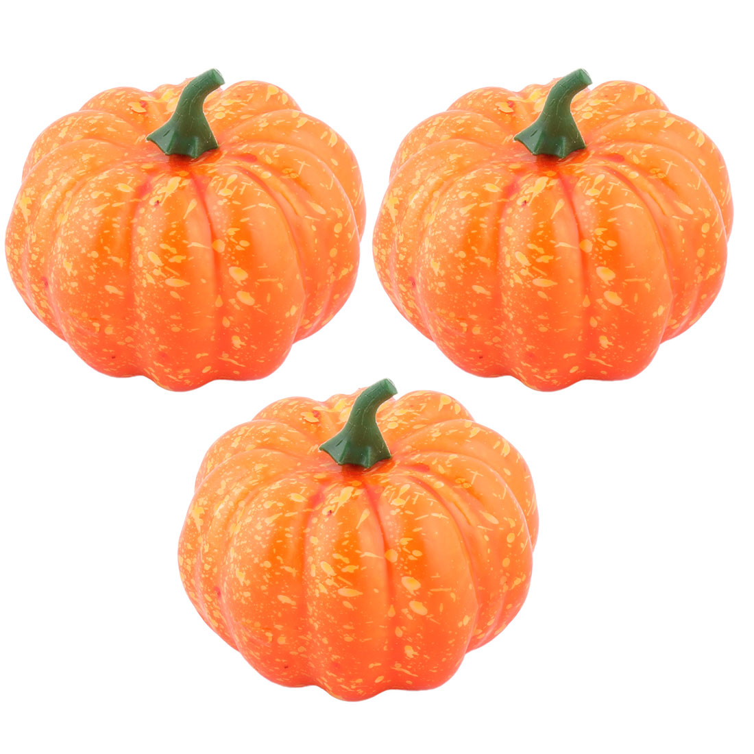 Home Plastic Desk Table Decoration Simulation Artificial Vegetable Pumpkin Orange 3 Pcs