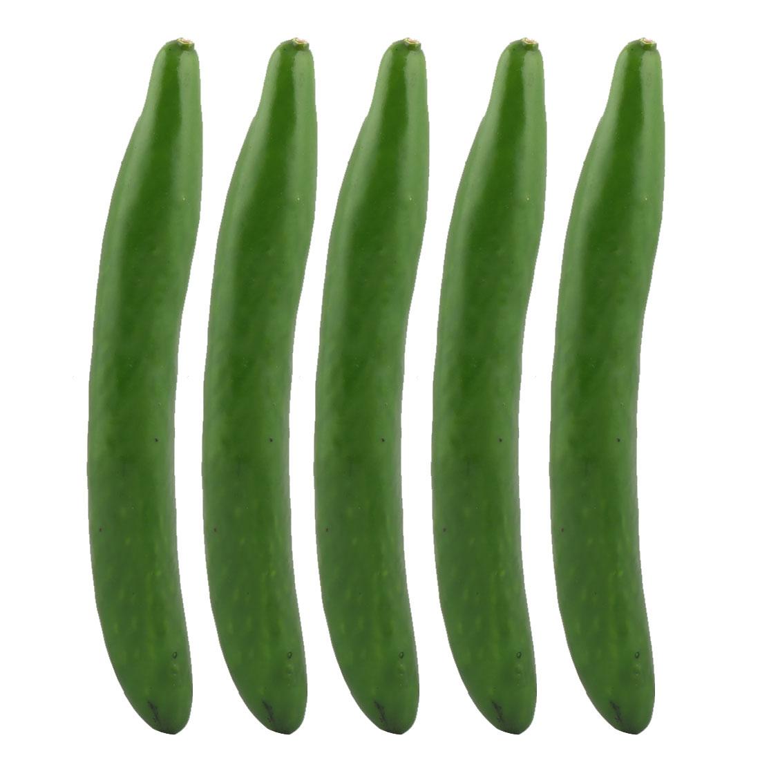 Photo Prop Decor Artificial Cucumber Designed Vegetable Mold 24.5cm Length 5pcs