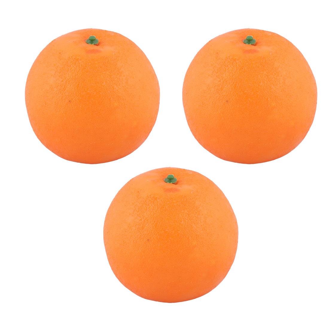 House Tea Table Decor Foam Artificial Orange Design Emulation Fruit Mold 3pcs