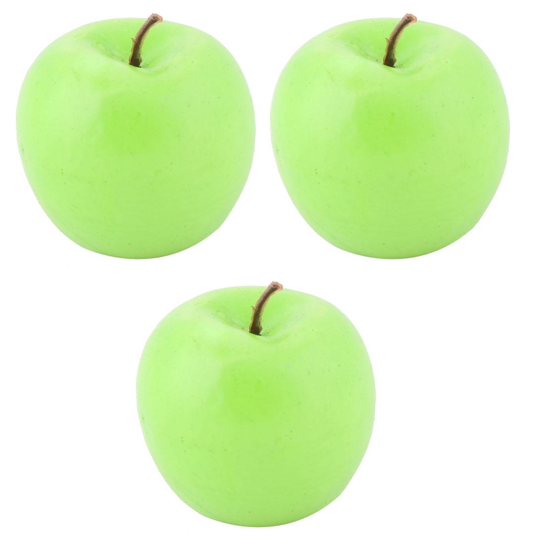 Home Office Decor Foam Lifelike Artificial Emulation Fake Fruit Apple Green 3pcs