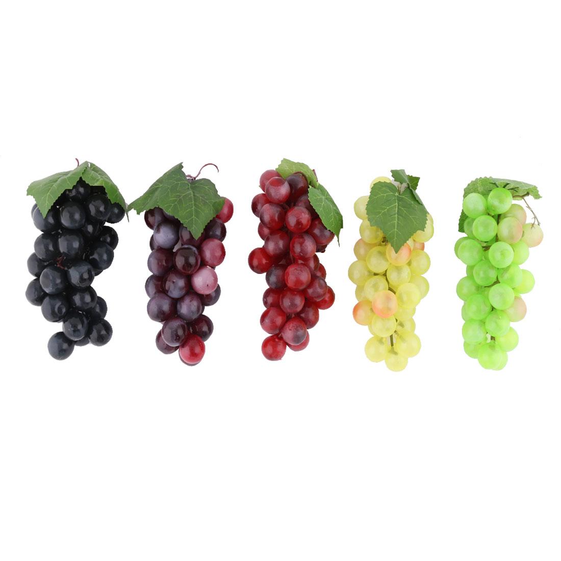 Family Plastic Desk Table Decoration Simulation Artificial Fruit Grape 5 Pcs