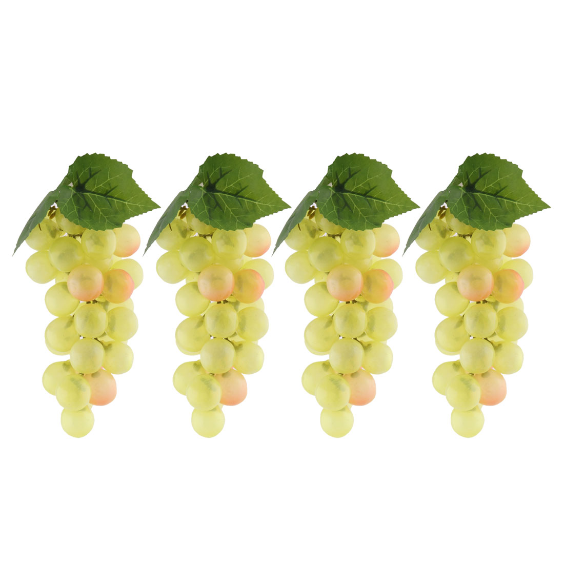 Home Desk Decor Plastic Artificial Grape Designed Emulation Fruit Light Yellow 4pcs