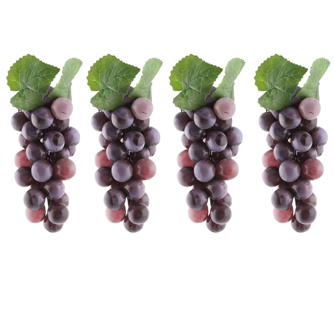 Home Plastic Desk Table Decoration Simulation Artificial Fruit Grape Purple 4 Pcs